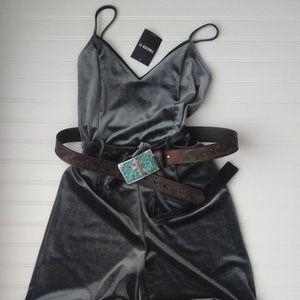 "Pants - Grey Velvet Jumpsuit ""NWT"""